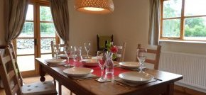 Large dining table with beautiful views of the surrounding countryside